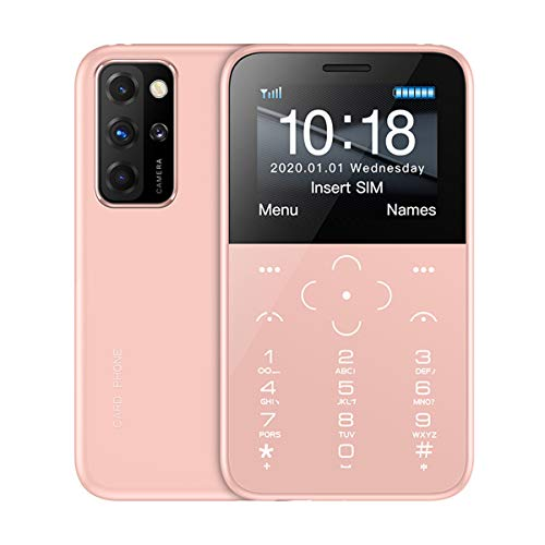 """SOYES S10P Mini Card Phone Unlocked 2G GSM Quad Band Mini Mobile Phones 400mAh 1.54""""IPS Color MTK6261M Cellphone Ultra-Thin Fashion Small Size Kids Cell Phones (Pink)"""