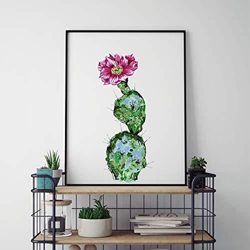 Aquarel cactus canvas kunst poster tropische groene plant cactus canvas decoratieve wand foto decoratie zonder frame