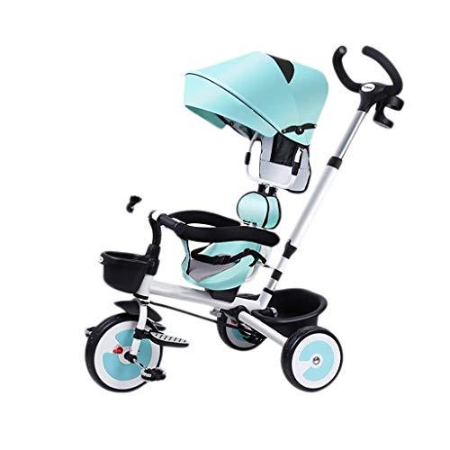YGB New Baby Push Trike, Triciclo, con toldo, Triciclo multifunción para niños, Rueda Inflable Gratuita, Triciclo para bebé al Aire Libre, 100x74x56cm