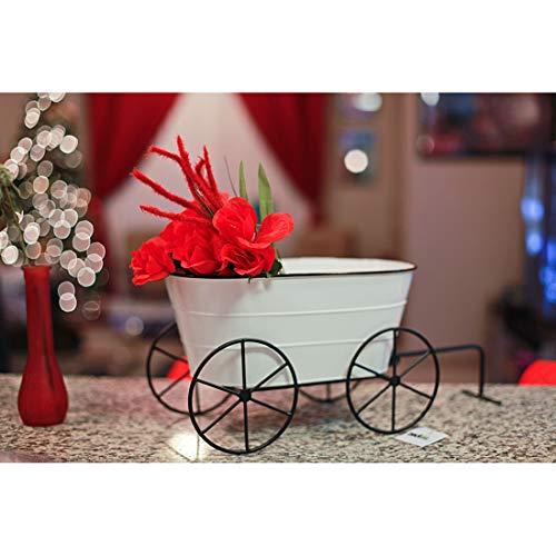 Zeckos White Enamelware Decorative Metal Farmhouse Wagon Garden Planter