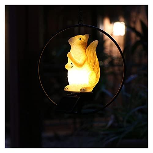 Lámpara de ardilla al aire libre de la lámpara del jardín de la ardilla solar, la estatua del tocón de energía solar impermeable DIRIGIÓ Luces de ardilla, adornos de jardín Luces de animales al aire l