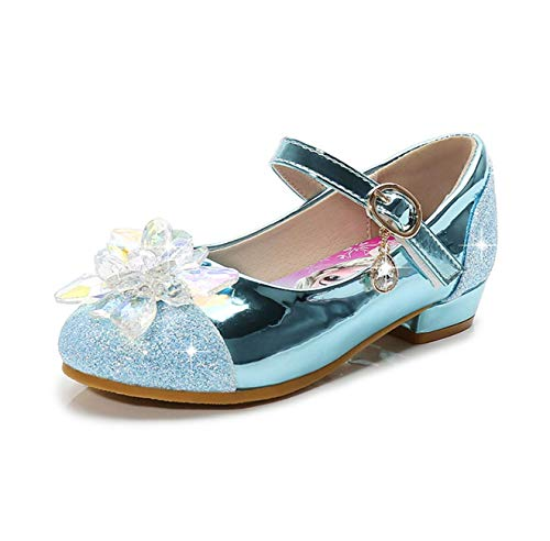 Fanessy Mädchen Prinzessin Schuhe Pailletten High Heels Elsa Kleid Schuhe Ballerina Tanzshow Schuhe Cosplay Halloween Geburtstagsfeier Fantasie Kristall Schuhe magische Aufkleber Sandalen blauEU 25-39