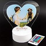 Lampada led personalizzata con foto e incisione a forma di cuore idea regalo San Valentino...