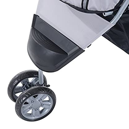 PawHut Pet Travel Stroller Cat Dog Pushchair Trolley Puppy Jogger Carrier Three Wheels (Gray) 5