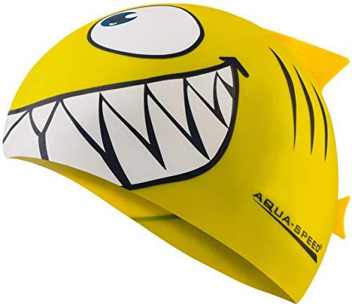 Aqua Speed Shark Gorro de natación + Toalla de Microfibra | niños | Gorras de baño Divertidos| tiburón | Silicona