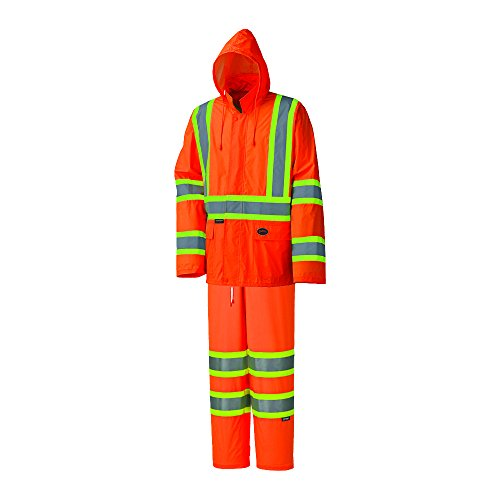 Pioneer High Visibility, Lightweight, Waterproof Safety Rain Suit, Reflective Tape, Polyester PVC, Orange, Unisex, XL, V1080150U-XL