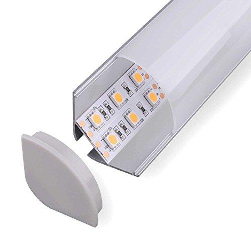 NITO Eckprofil Aluminium eloxiert | L - 2m x B - 2,97cm x H - 2,97cm | Milchig-weiß Opal | Alu Kanal für LED Streifen | inkl. Montageclips + Endkappen | Aluprofil für Stripes bis 20mm Breite