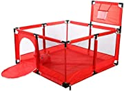 Playpens Baby Playyard Infant with Balls and Door  Safety Household Protective Fence Portable Assembled House Play Yards  Red  color With Basketball Hoop