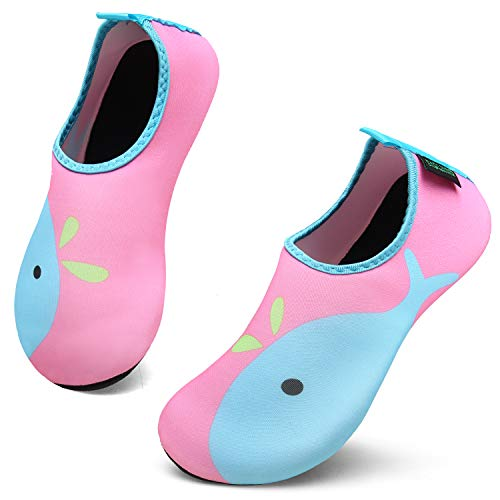 SAGUARO Unisex Kinder Aquaschuhe Schnell Trocknend Schwimmschuhe Slip On Breathable Wasserschuhe rutschfeste Beach Shoes, Pink Delphin Rosa, 22/23 EU