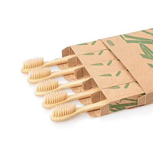 Daletu Bambus Zahnbürsten, 5er Pack Holzzahnbürste Zahnbürste Holz Weich Borsten Reisezahnbürste Set Handzahnbürste Mittel Umweltfreundliche Natürlich Biologisch Abbaubar Nachhaltig Zahnbürste