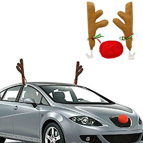 Time to Sparkle Christmas Reindeer Antlers And Red Nose Car Window Roof Festive Vehicle Van Gift Present Xmas-Light Brown
