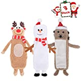 SCENEREAL No Stuffed Christmas Dog Squeaky Plush Toy 3 Pack - Christmas Element Model, Elk, Hedgehog, Snowman, Pet Chew Plush Toy with Squeaker Inside, Fit for Dogs Puppies