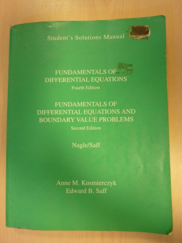 Fundamentals of Differential Equations : Solutions Manual