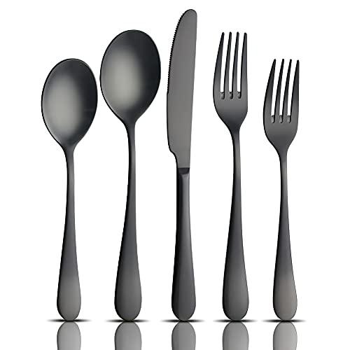 AOOSY Set de Couverts Noir Mat, Couverts en Argent Massif Solide 20 pièces en Acier Inoxydable 18/10, Couverts, Couteaux de dîner, fourchettes, cuillères (4 Ensembles)