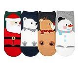 CBC Crown Women's Winter Theme Socks, Crew Socks, Ankle Socks, No Show Socks Sets for Women & Teens - Made in Korea (4 Pack Ankle Socks - Chubby Santa)