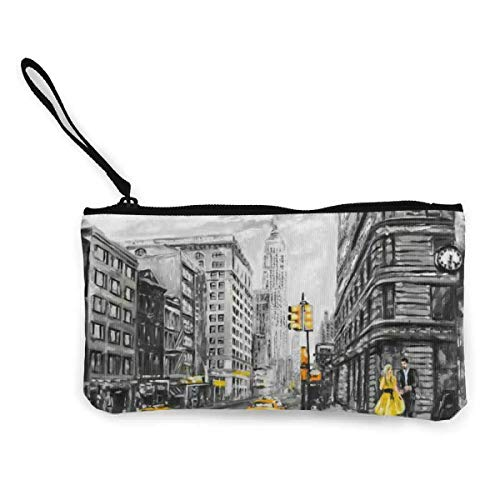 SDFGJ Vintage New York Street Women and Girls Cute Fashion Canvas Coin Purse Change Coin Bag Zipper Small Purse Wallets for Keychain Money Travel Pouches