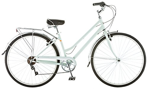 Schwinn Wayfarer Adult Bike Hybrid Retro-Styled Cruiser, 16-Inch/Small Steel Step-Through Frame, 7-Speed Drivetrain, Rear Rack, 700C Wheels, Mint