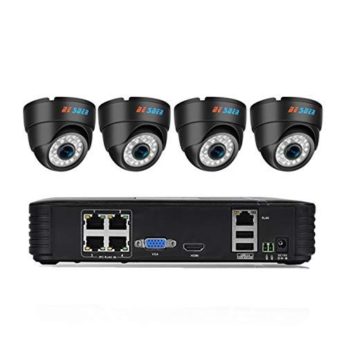 Sistema de vigilancia domiciliaria 4CH Cámara de Seguridad IP PoE NVR Kit Sistema CCTV 1080P 960P 720P 4 Cómica de cúpula Interior PoE (Build-in HDD : 1T, Color : Beige)