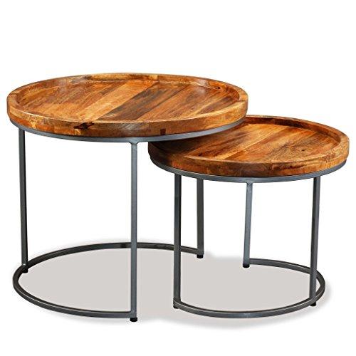Festnight Set 2 Tavolini da caffè Rotondi Industriale in Legno Massello di Mango e Ferro Battuto,Tavolino da Salotto Industriale Rotondo Legno,Tavolino da Giardino Esterno Industriale Rotondo Legno