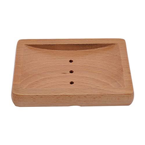 L_shop Holz Seifenkiste Handgemachte Quadratische Hohlablauf Design Bad Bad Seifenablage Seifenschutzschale, Quadrat, 14 * 10,2 * 2 cm
