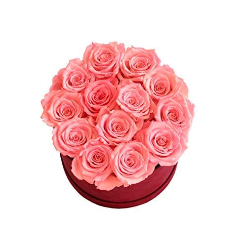 RATTIFLORA® Florabox Lovely - Composizione di Rose Stabilizzate - Ottimo Regalo di Anniversario, Matrimonio, Fidanzamento o per Una Semplice Sorpresa Romantica (Rosa Corallo, Large 15 Rose)