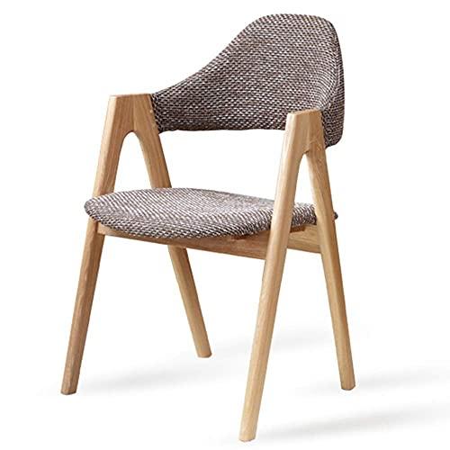 Renovierungshaus Stuhl Retro Side Dining Office Lounge Chair mit gepolstertem Pad Küchenstühle Natürliche Massivholzbeine Für Office Lounge Massivholzrückenlehne Traggewicht 150kg 50x42x80cm (Color :
