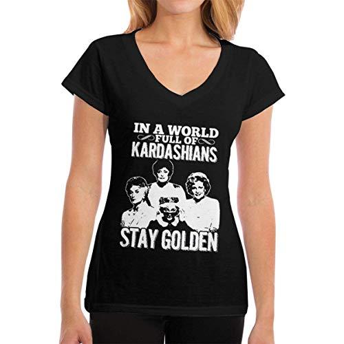 Henrnt Damen T-Shirt, Womens V-Neck T-Shirt in a World Full Kardashians Summer Printed Short Sleeves Cotton Casual Tops