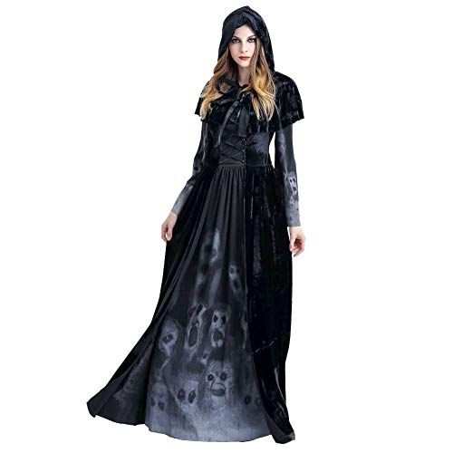 GLXQIJ Halloween Böse Deluxe Hexe Kostüm Dämon Kostüm Mit Hut Mantel, Beängstigend Gedruckten Knochen, Legends of Evil,Black,L