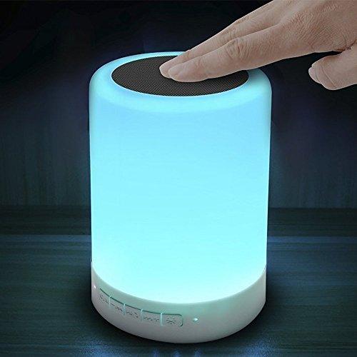 Tsing Lámpara Led de Colores Lámpara Mesita Noche Táctil con Altavoz Bluetooth 4.0 Manos Libres
