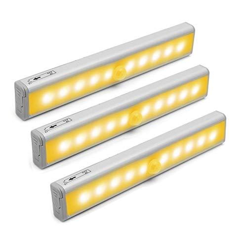 Luz de armario con sensor de movimiento, iluminación de armario inalámbrica, 10 ledes, con batería recargable integrada, se puede pegar en cualquier lugar, blanco cálido