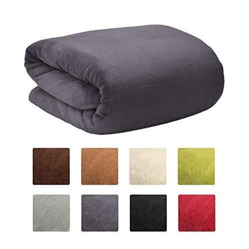 Beautissu Aurelia warme Kuscheldecke 150x200cm Mikrofaserdecke XL Wohndecke Fleecedecke Sofadecke Couchdecke Tagesdecke Überwurfdecke Flauschige Decke Anthrazit