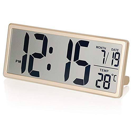 $ Digitale wekker voor op kantoor, werkt op batterijen, grote weergave, elektrische horloges, wekker, thermometer, datum, slaapkamer, nachtkastje, horloges, kinderen, oud licht, eenvoudig lezen, goudkleurig
