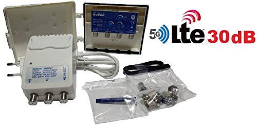 Amplificador de mastil TDT + alimentador ROVER 30 dB LTE con Filtro LTE Rechazo 5G