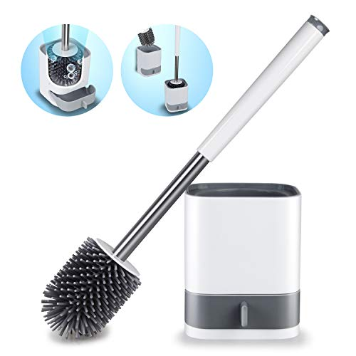 HOMTOYOU Toilet Brush and Holder Set, Bathroom Cleaning Toilet Bowl Brush Cleaner Anti Slip with Sturdy Soft Silicone Bristle Removable Water Drawer Quick Drying (White)