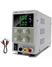 Laboratoriumvoeding 0-30V / 0-5A Variabele DC-desktopvoeding 3-cijferig LED-display met krokodillenkabels, EU-voedingskabel voor onderzoek, reparatie, doe-het-zelfgereedschap