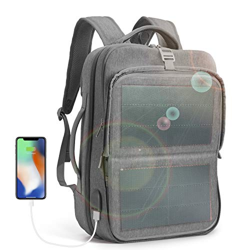 HANERGY Solar Power Backpack 9W Thin Film Solar Panel Business Laptop Travel Bag 2 USB Port (Grey)