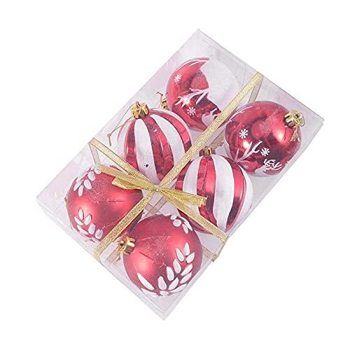 6/12 Uds adorno de bola de Navidad árbol de Navidad decoración colgante adorno de exhibición de bola colgante para Navidad en casa 6 Uds 8cm