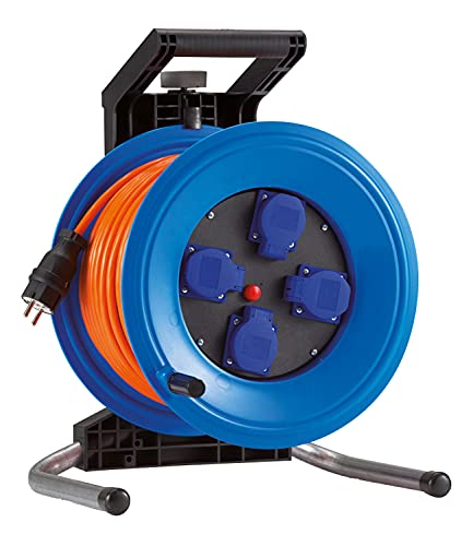 HEDI Carrete de cable 50 m Professional Plus 320 (cable blindado H07BQ-F 3G1,5, carrete de cable de alimentación con 4 tomas individuales para uso en exteriores) K350QTFE, multicolor