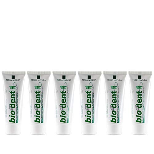 TERRA NATURA Bio Dent BasicS (6x75ml) mit Olivenblattextrakt, Kamille und Stevia, Fluoridfrei, homöopathiverträgliche Bio-Zahnpasta, Kieselerde, Vegan, ohne Konservierungsstoffe, Naturkosmetik