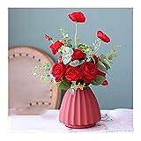 YANJ Flor Artificial Realista Florero de cerámica Rojo Conjunto de Flores Falsas, Florero pequeño de encimera de 15 cm de Ancho y 16 cm de Alto Hotel Hogar Decoración de Bodas Ramo de Regalo Flor