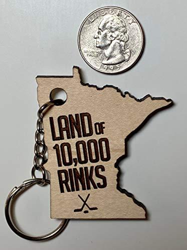 NoBrands Minnesota Schlüsselanhänger Lustig Minnesota Holz Schlüsselanhänger Land of 10000 Rinks Schlüsselanhänger Hockey Schlüsselanhänger Holz Schlüsselanhänger Hockey MN Holz Schlüsselanhänger