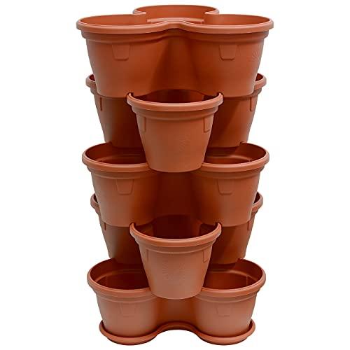 ENGELLAND 5X Blumentopf Säulentopf Pflanzturm Hochbeet Pflanztopf-Kübel mit Untersetzer stapelbar widerstandsfähig Kunststoff Terracotta