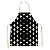 Delantal Delantal De Chef De Cocina Geométrico Blanco Y Negro para Mujer Y...