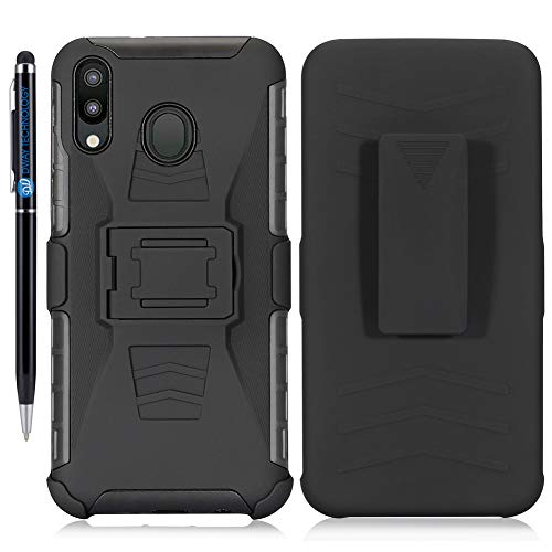 DWaybox Custodia for Galaxy A40 3 in 1 Combo Hard Heavy Duty Custodia with Kickstand And Swivel Belt Clip on Shell Back Compatible with Samsung Galaxy A40 SM-A405 5.9 inch (Black)