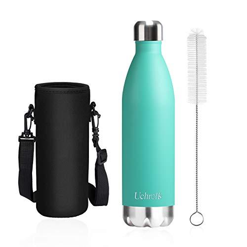 Uchrolls Botella de Agua aislada al vacío de Acero Inoxidable, 750ml, diseño de Pared Doble para Mantener Sus Bebidas Caliente y Fría, BPA Gratis, Ideal Botella de Agua Deportiva (Mint)