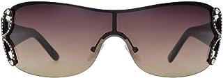 Renato Landini Shield Sunglasses for Women - Semi Rimless Multi Color Frame, Brown Gradient Lens