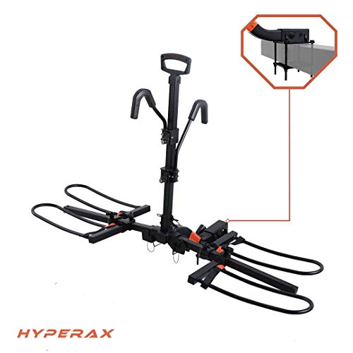 Hyperax RV Approved E Bike Rack Carrier with Bumper Mount Adaptor for RV, Camper, Trailer - Fits Up to 2X 45lbs Mountain Bikes MTBs E MTBs Road Bikes with Up to 5-inch Fat Tires