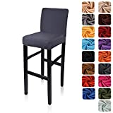 Deisy Dee Stretch Slipcovers Chair Cover for Counter Height Side Chairs Covers Stretch Protectors C171 (Dark Grey)