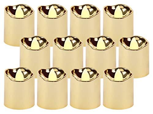 Trend-world Bougies à LED Scintillante Bougie doré décorative, réutilisables (TL-15) Petite Bougie Sûre et Propre, Ambiance agréable, LED-Teelicht TL-15 Gold:12 pièces