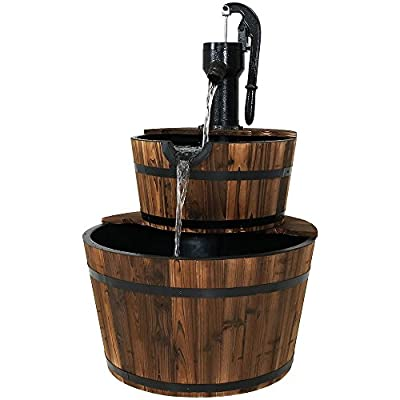 Sunnydaze Wood Barrel Outdoor Water Fountain with Hand Pump - 2-Tier Large Outside Cascading Waterfall Fountain Feature for Garden, Backyard, Patio, Porch, or Yard - Rustic, 37 Inch